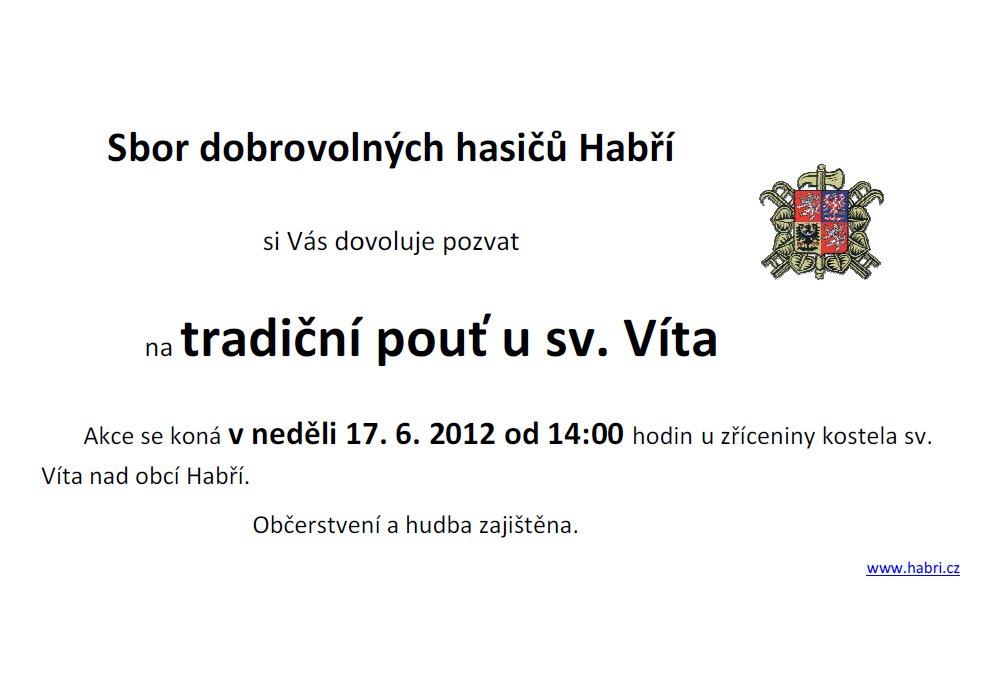 plakát - Pozvánka na pouť u sv.Víta